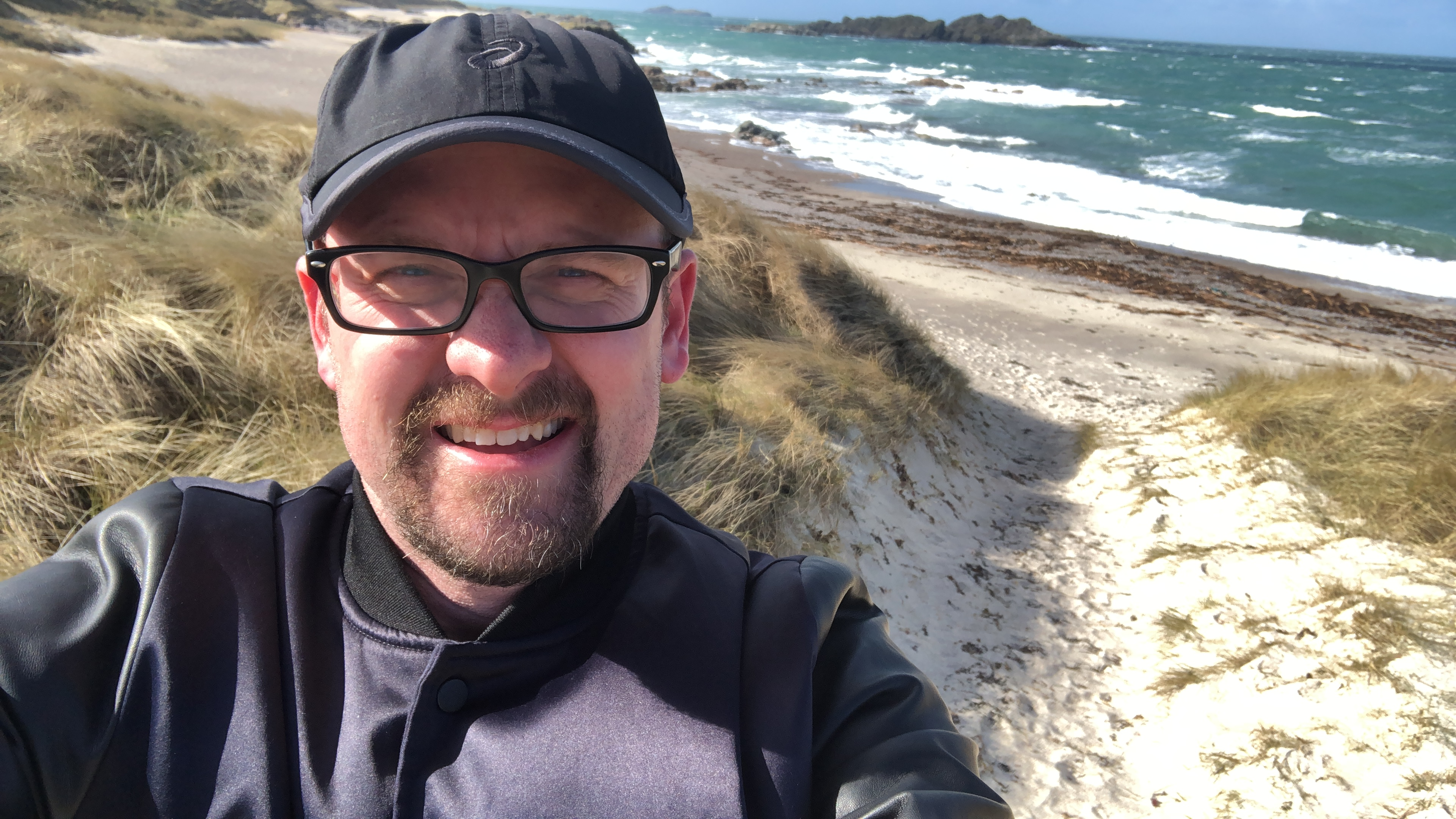 Selfie with an Iona beach in the background